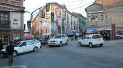 La Paz street intersection near witches market c Stock Footage