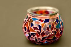 Artistic Ethnic Mosaic Candle holder - stock photo