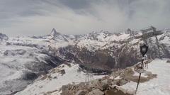 Matterhorn panorama at alpine destination Rothorn Stock Footage