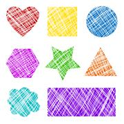 grunge scratched shapes - stock illustration