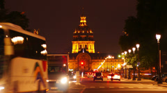 France, Paris, Hotel des Invalides and traffic nearby, time-lapse. Stock Footage