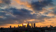 4K. Beautiful sunset over downtown Los Angeles city skyline. Time lapse. Stock Footage
