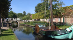 Traditional dutch village, canal pan quay sea dike cafe ENKHUIZEN, NETHERLANDS Stock Footage