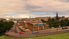 Edinburgh. A view on National gallery of Scotlan and Scott Monument-Princess St. Stock Footage