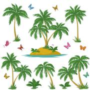 Tropical island, palms and butterflies Piirros