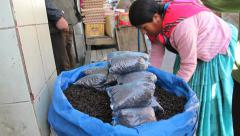 La Paz market bags of beans Stock Footage