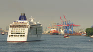 Stock Video Footage of Cruise ship reached port of Hamburg.