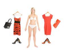 Dress up the girl item set isolated on white background Stock Photos
