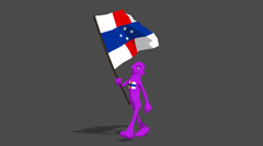 Netherlands antilles National Flag Carried By Character Walk Stock Footage