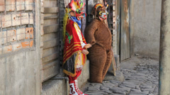 La Paz strange costumes for sale Stock Footage