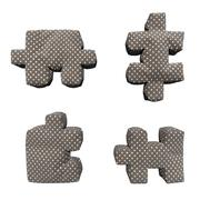 3D textile brown puzzles in white peas Stock Illustration