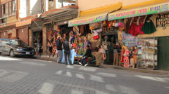 Bolivia La Paz shop with colorful goods  Stock Footage