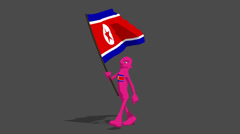 north korea National Flag Carried By Character Walk - stock footage