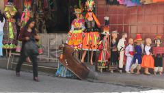 La Paz people walk by a shop c Stock Footage