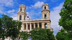 France, Paris, basilica Sent Sulpice, time-lapse. Stock Footage