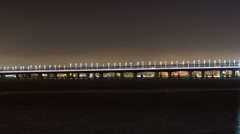 Pan and zoom time lapse of the new span of the San Francisco Bay Bridge n. view Stock Footage