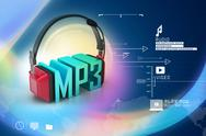 Stock Illustration of head phone with mp3