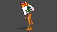 prince edward island National Flag Carried By Character Loop - stock footage
