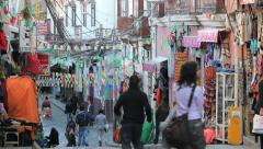 La Paz a man runs down a street c Stock Footage