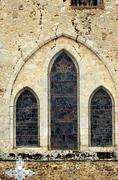 Romanesque church window in congy Stock Photos