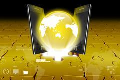 Global network media concept Stock Illustration