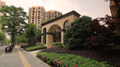 Entrance to a luxury condominium complex in Shanghai Stock Footage