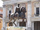 Stock Photo of rome, ancient rome with marcus aurelius on the piazza del campidoglio