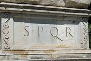 Stock Photo of rome, roman spqr inscription of the roman empire on marble