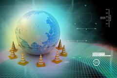 Globe and traffic cone Stock Illustration