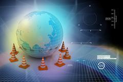 globe and traffic cone - stock illustration