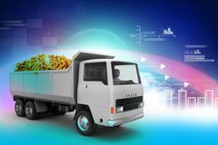 Truck with dollar money Stock Illustration