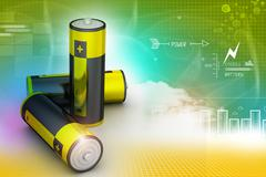 batteries in color background - stock illustration