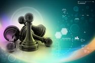 Stock Illustration of black pawn isolated on white colour