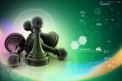 black pawn isolated on white colour - stock illustration