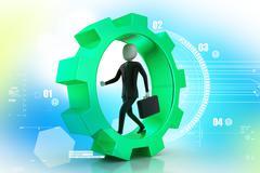 business man running in gear wheels - stock illustration
