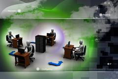 Networking people  with server Stock Illustration