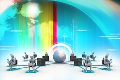 networking people  with globe - stock illustration