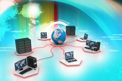 global computer networking - stock illustration