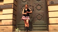 Nice Girl playing bagpipe (audio) Stock Footage