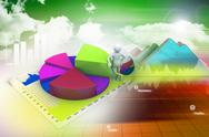 Stock Illustration of 3d man with business charts