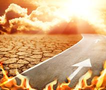Highway to hell through desert Piirros