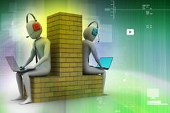 3d people working in laptop - stock illustration