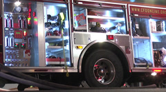 Firetruck haz mat gear closeup Stock Footage