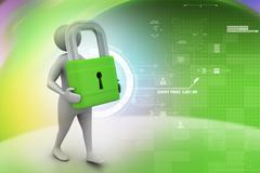 3d man with padlock, security concept - stock illustration