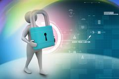 3d man with padlock, security concept Stock Illustration
