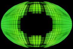 green globe shape on black background with empty space inside. - stock illustration