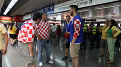 Croatians Fans take photo with Brazilians in 2014 World Cup Stock Footage