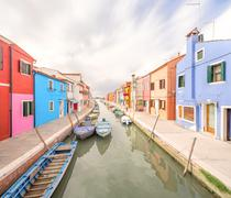 Murano and Burano island, street with glass store - stock photo