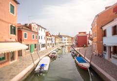 Murano and Burano island, street with glass store Stock Photos