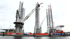 Huge vessel for offshore construction Stock Footage